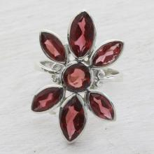 Garnet and Sterling Silver Floral Cocktail Ring