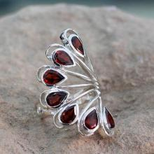 Garnet and Sterling Silver Ring Jewelry