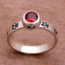 Garnet and Sterling Silver Single Stone