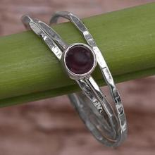 Garnet and Sterling Silver Solitaire Ring
