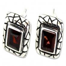 Garnet button earrings, 'Certainty'