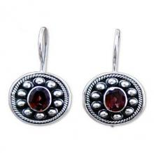 Garnet drop earrings, 'Harmony'