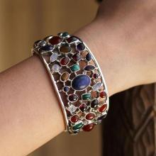 Gemstone Cuff Bracelet in Sterling Silver
