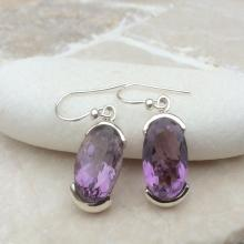 Gemstone Drop Earrings, Amethyst Earrings, Gemstone Oval Stone Earrings, February Birthstone Earrings, Amethyst Silver Earrings