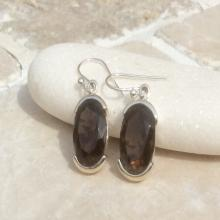 Gemstone Drop Earrings, Smokey Quartz Earrings, Gemstone Oval Stone Earrings, Brown Gemstone Earrings, Smokey Quartz Silver Earrings