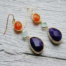 Gemstone Earrings Indigo Orange Mint Aqua Ivory Large Statement Jewelry Set Candy Jade Hand Made 14kt Gold Matching earrings