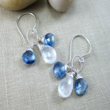 Gemstone Earrings Kyanite Moonstone Sterling Silver Dangle Earrings Blue White - Winter Sky