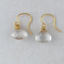Gemstone Earrings. Gemstone Drops. Moss Quartz and 12 Carat Gold Filled earrings. Dangle and Drop. Dainty and minimalist.