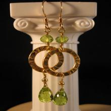 Gemstone Hoop Earrings,peridot earrings, gemstone earrings, gold earrings, hoop earrings, gemstone jewelry,birthstone earrings,birthstone