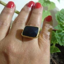 Gemstone Ring , Gold Filled Ring, Black Ring, Handmade Ring, Free Size Ring, Christmas gift, Gold Plate Ring