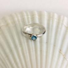 Gemstone Ring - Blue Topaz Tube-Set in Silver Band - Custom