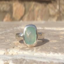Gemstone Ring, Aqua Chalcedony Silver Ring, OOAK Ring, Blue Chalcedony Gemstone Silver Ring, Blue Gemstone Ring