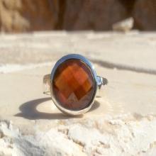Gemstone Ring, Garnet Hammered Silver Ring, OOAK Ring, Gemstone Silver Ring, Oval Stone Garnet Gemstone Ring