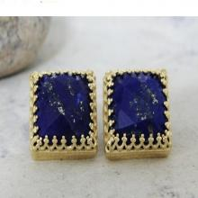 Gemstone earrings,gold earrings,Lapis earrings,September birthstone earrings,post earrings,square earrings