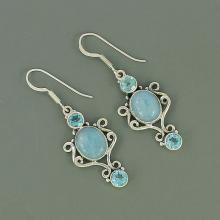 Genuine Aquamarine & Blue Topaz Gemstone Earrings, 925 Sterling Silver Earrings, Women's Gift Jewelry, Birthstone Gift Earrings Jewelry