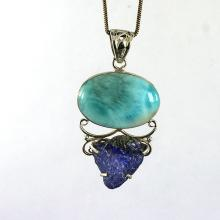 Genuine Dominican Larimar & Rough Row Tanzanite Gemstone Pendant, 925 Sterling Silver Handmade Pendant Jewelry, Unique Pendant Jewelry