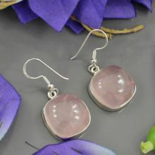 Genuine Rose Quartz Earrings - Bezel Set Pink Earrings - Birthstone Gemstone Earrings - Solid 925 Sterling Silver Gift Earrings Jewelry
