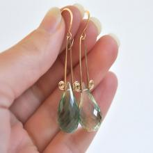 Gold Filled Earrings- Gemstone Earrings- Spiral Earrings- Green Quartz Earrings- Teardrop Earrings- Emerald Green Earrings- Women's Jewelry