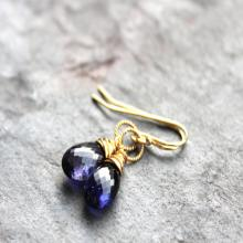 Gold Iolite Earrings Classic Delicate Drop Blue Gemstone Earrings 14k GF Gold Fill