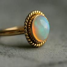 Gold Opal ring - Natural Opal Ring - Engagement ring - Artisan ring - October birthstone Bezel ring