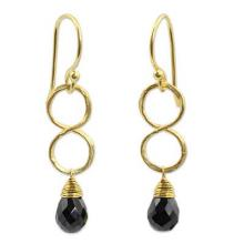 Gold Plated Black Onyx Earrings, 'Infinity'