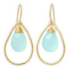 Gold Plated Chalcedony Dangle Earrings, 'Empress'