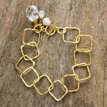 Gold Plated Cultured Pearl Moonstone Quartz Bracelet