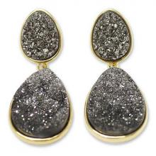 Gold Plated Drusy Dangle Earrings, 'Dark Mystery'