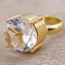 Gold Plated Quartz Single Stone