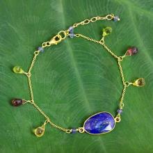 Gold Plated Sterling Silver Lapis Lazuli Bracelet