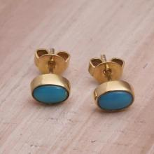 Gold Plated Sterling Silver and Turquoise Stud Earrings