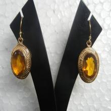 Gold Plated Yellow Quartz Gemstone Earrings, Gemstone Earrings