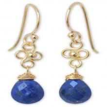 Gold Vermeil Lapis Lazuli Dangle Earrings, 'Four Petals'