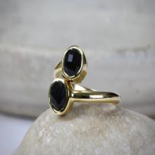Gold multistone rings,stacking ring,double ring,bezel set ring,snake ring,gold ring,black onyx ring,gemstone ring