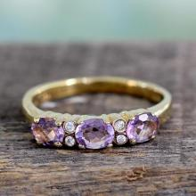 Gold vermeil amethyst cluster ring
