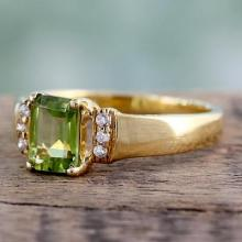 Gold vermeil peridot solitaire ring