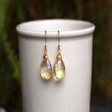 Golden Citrine Earrings, Yellow Citrine Wire Wrapped Gemstone Earrings, Simple Citrine Earrings, Gold or Silver