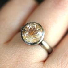 Golden Rutilated Quartz Oxidized Sterling Silver Ring, Gemstone Ring, In No Nickel Nickel Free