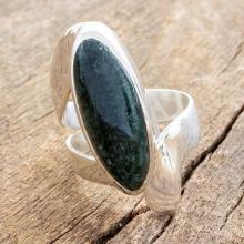 Good Luck Sterling Silver Jade Cocktail Ring