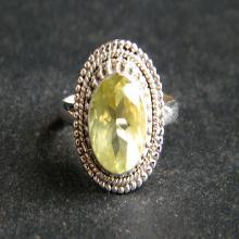 Gorgeous LEMON QUARTZ Rose Cut Gemstone Ring 925 Solid Sterling Silver Ring