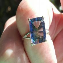 Gorgeous Mystic Blue Quartz Ring Concave Cut, 925 Sterling Silver Setting, Gemstone Jewelry, Blue-green Gemstone Ring