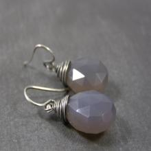 Gray Chalcedony Earrings, Chalcedony Gemstone Earrings, Gray Stone Dangle Earrings