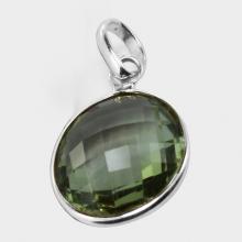 Green Amethyst Pendant, Stone Pendant, 925 Sterling Silver Pendant, Genuine Design Silver Pendant, Party wear Silver Pendant