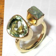 Green Amethyst Ring, Handmade Ring, Bezel-Set Ring, Green Fluorite Ring, Gemstone Jewelry, Handcrafted Ring, Gemstone Ring, Vermeil Ring