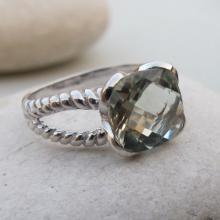 Green Amethyst Ring- Silver Ring- Gemstone Ring- Stone Rings- Amethyst Rings- Green Stone Ring- February Birthstone Ring- Green