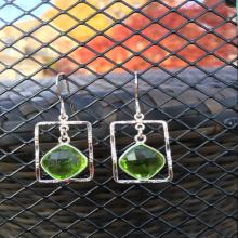 Green Bezel Silver Hammered Rectangle Earrings, Peridot Chalcedony Earrings, Sterling Silver Earrings