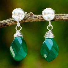 Green Chalcedony Briolette Earrings with Sterling Silver, 'From Chiang Mai with Love'