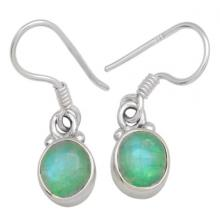 Green Moon Stone Gemstone Earrings Solid 925 Sterling Silver Jewelry