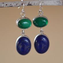 Green Onyx - Lapis Lazuli Sterling Silver Earrings. SKY MEETS EARTH Earrings. Deep Blue Lapis & Green Onyx Gemstone Silversmith Earrings