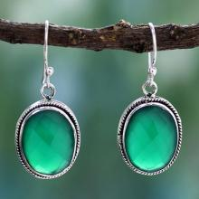 Green Onyx Earrings in Sterling Silver Handmade in India, 'Luscious Green'